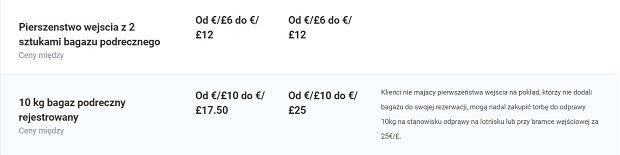 Ryanair podnosi opłaty za usługi