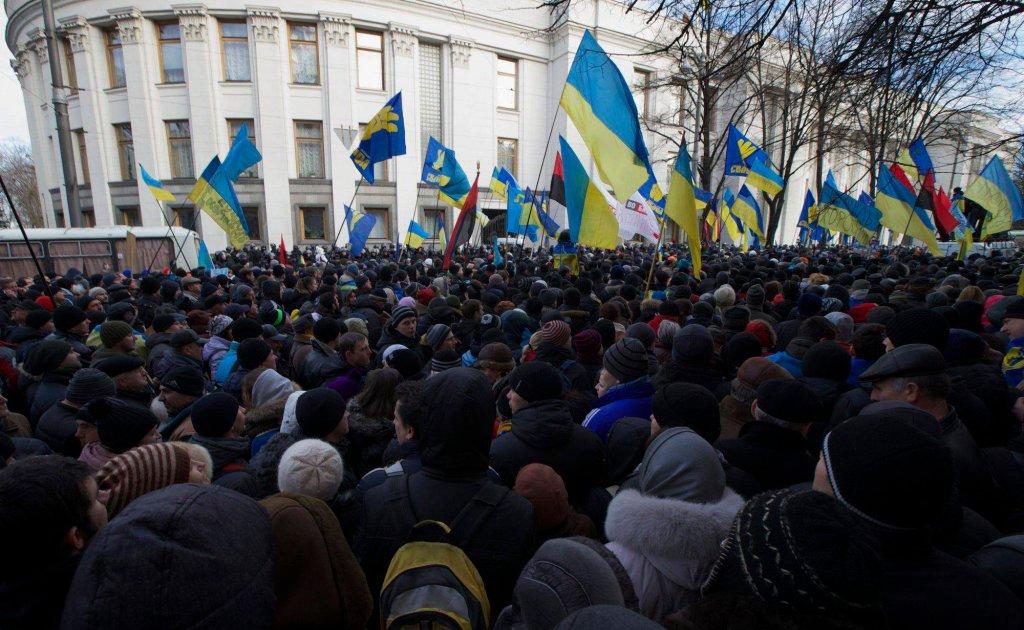 Protestujący pod parlamentem ukraińskim
