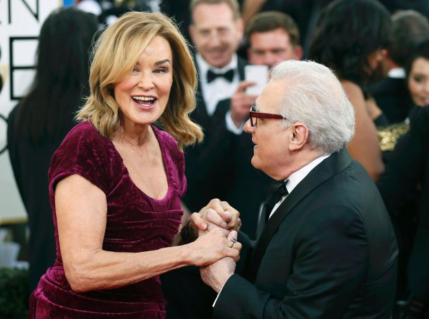 Actress Jessica Lange and director Martin Scorsese talk on the red carpet at the 71st annual Golden Globe Awards in Beverly Hills, California January 12, 2014.  REUTERS/Danny Moloshok  (UNITED STATES - Tags: Entertainment)(GOLDENGLOBES-ARRIVALS)