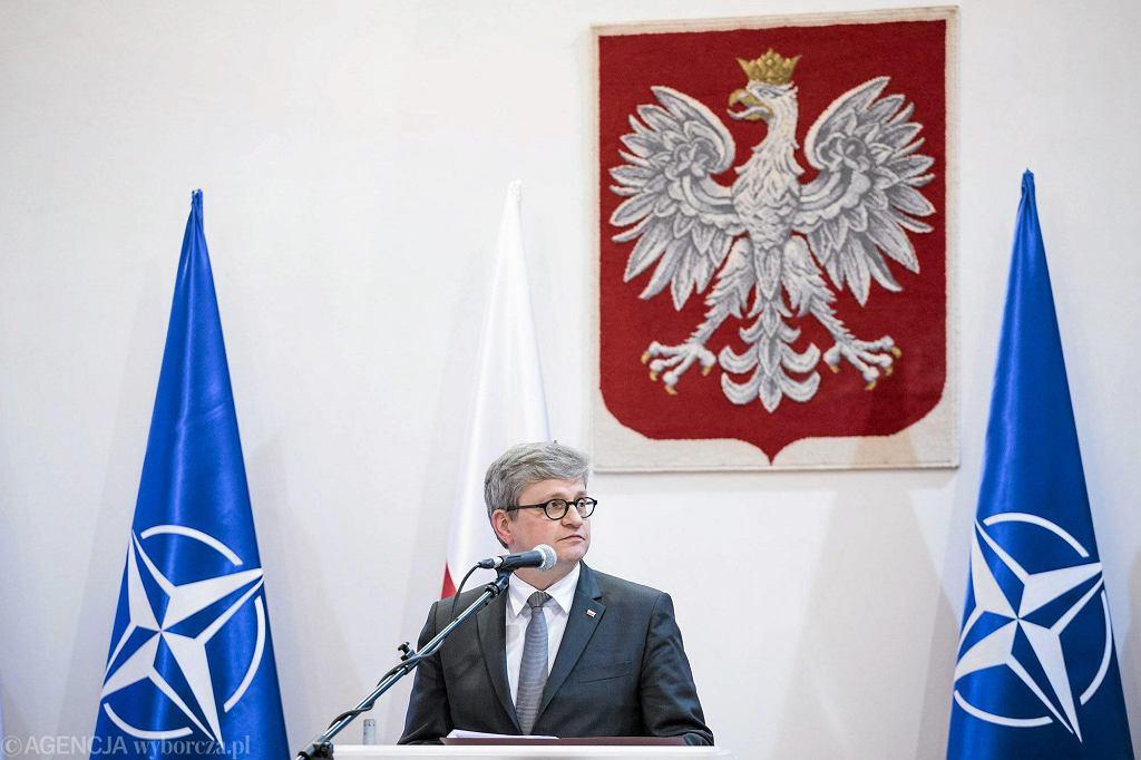 13.02.2017, szef Biura Bezpieczeństwa Narodowego Paweł Soloch podczas spotkania z okazji 18. rocznicy wstąpienia Polski do NATO.