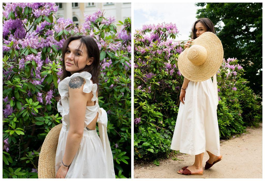 Stylizacja z popelinową sukienką