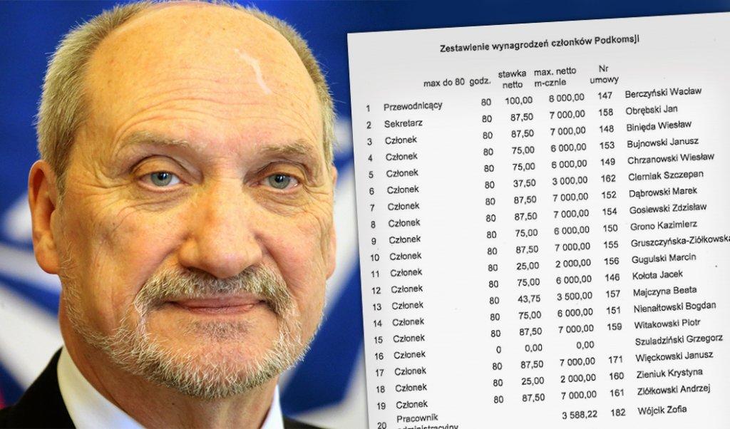 Antoni Macierewicz i lista płac członków jego podkomisji