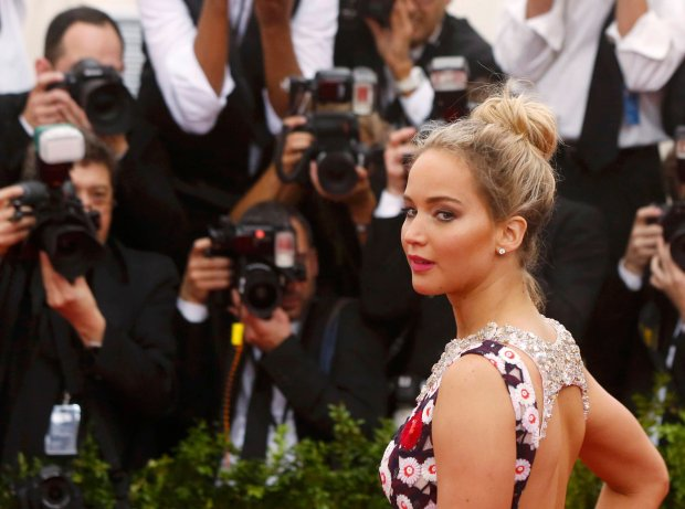 Actress Jennifer Lawrence arrives at the Metropolitan Museum of Art Costume Institute Gala 2015 celebrating the opening of