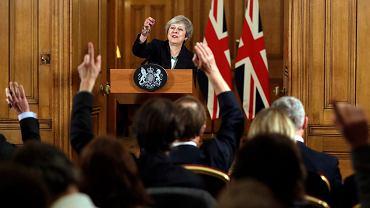 15.11.2018, Londyn, konferencja prasowa premier Wielkiej Brytanii Theresy May na temat Brexitu.
