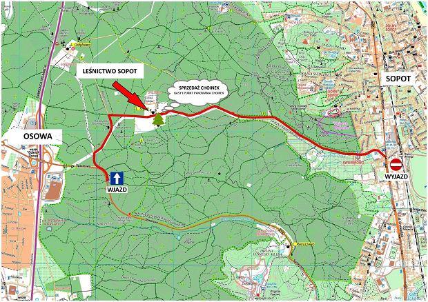 Mapa dojazdu do leśniczówki w Sopocie