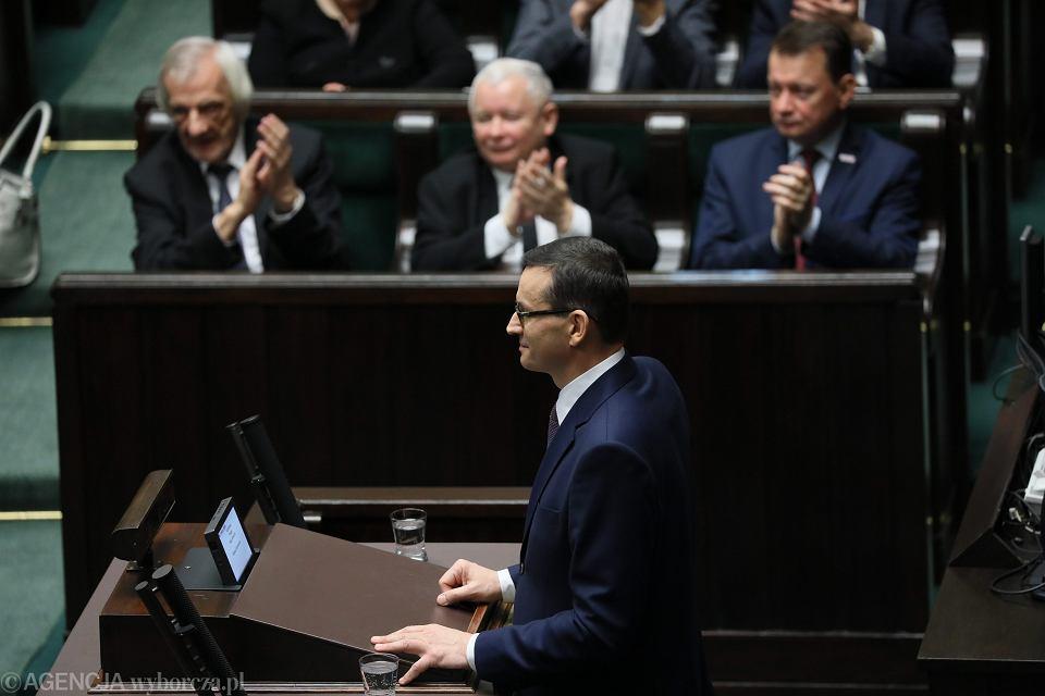 Premier rządu PiS Mateusz Morawiecki poprosił o wotum zaufania (opozycja zapowiadała wniosek o wotum nieufności). Warszawa, Sejm, 12 grudnia 2018