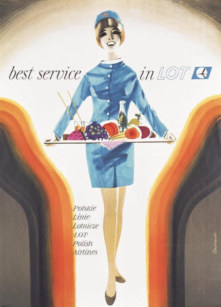 Plakat promocyjny LOT-u; Janusz Grabiański; 1966 r.
