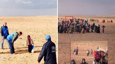 Czterolatek samotnie idzie przez pustynię? Kolejny kadr pokazuje, że wędrował w dużej grupie uchodźców z Syrii