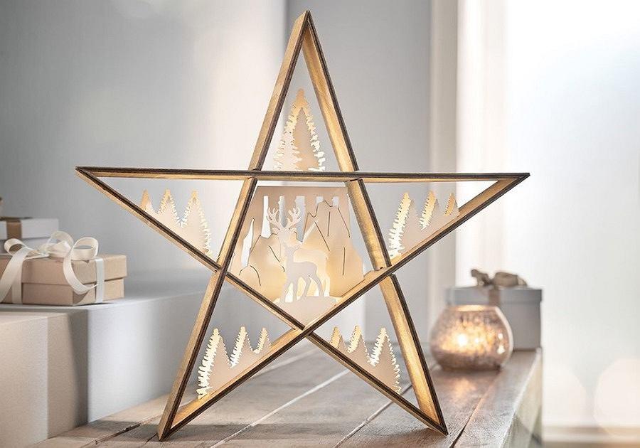 Gwiazda drewniana z podświetleniem z kolekcji Melinera marki Lidl