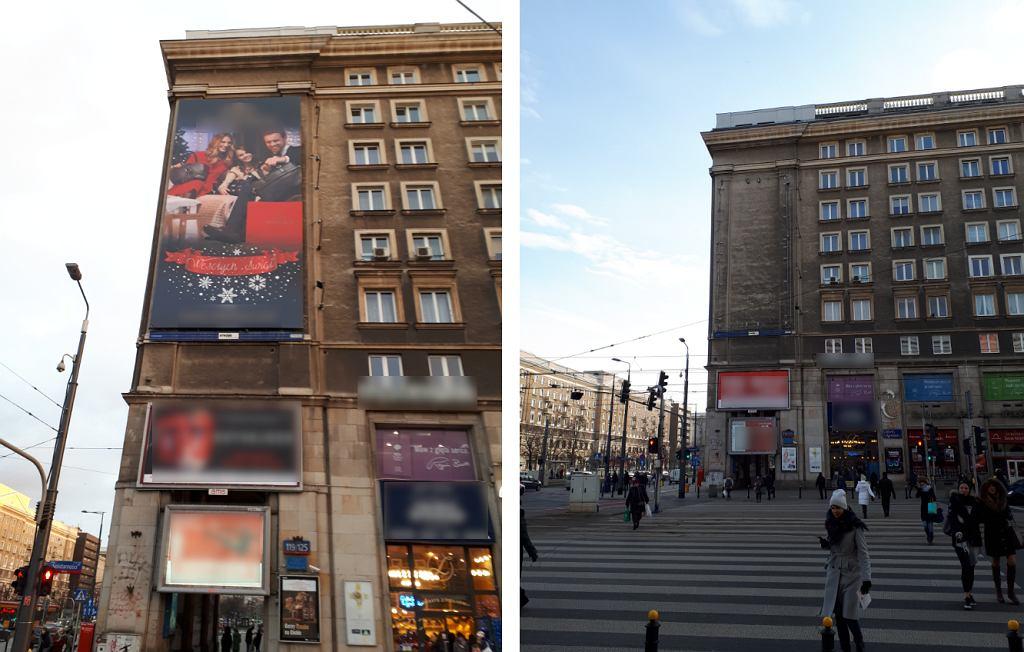 Warszawa przed i po. W stolicy roi się od nielegalnych reklam. Tylko w styczniu usunięto 117