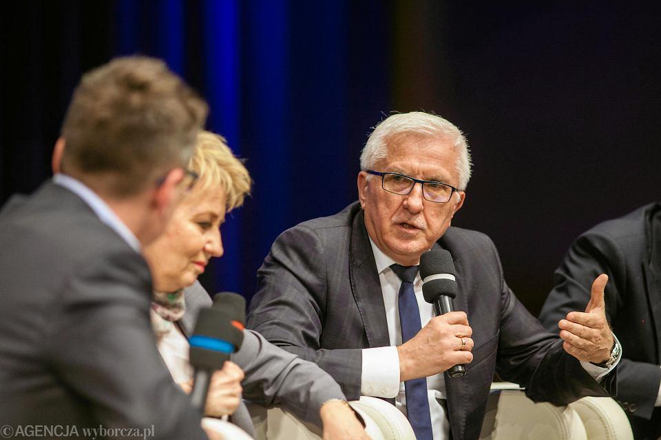 Wadim Tyszkiewicz, prezydent Nowej Soli, podczas debaty w Europejskim Centrum Solidarności w Gdańsku