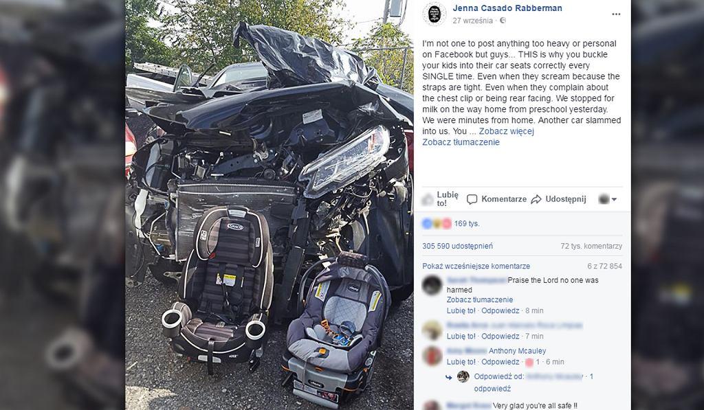 Foteliki samochodowe uratowały życie jej dzieciom.