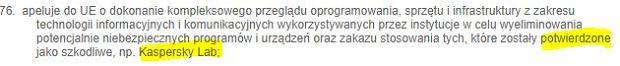 Fragment rezolucji wzywającej do zaprzestania korzystania z Kaspersky Lab