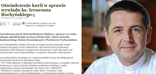 Oświadczenie kurii/ Ks. dr Ireneusz Bochyński