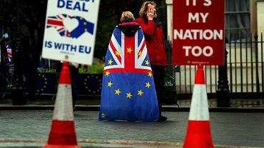 Protestujący pod Parlamentem w Londynie przeciwnicy i zwolennicy Brexitu