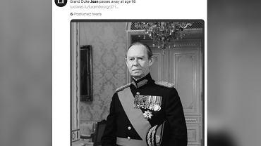 Nie żyje były wielki książę Luksemburga - Jan. Zmarł w wieku 98 lat