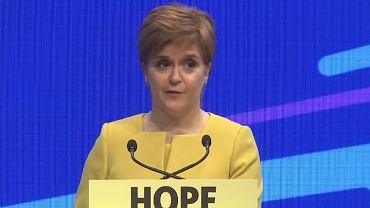 Nicola Sturgeon, liderka SNP, podczas konwencji partii w Edynburgu