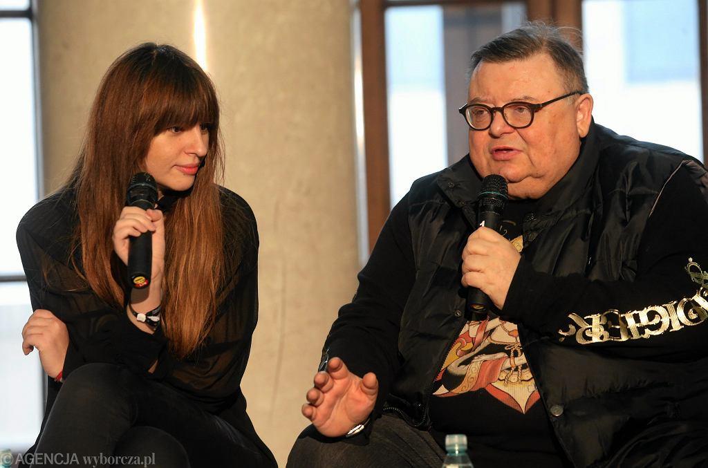 Dziennikarze radiowej Trójki Anna Gacek i Wojciech Mann podczas Europejskich Targów Muzycznych 'Co Jest Grane'. Warszawa, 29 listopada 2014