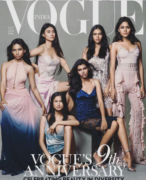 Okładka Vogue India, październik 2016. Pierwsza z lewej pozuje Raudha Athif