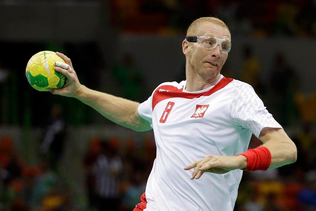 Karol Bielecki podczas meczu z Chorwacją