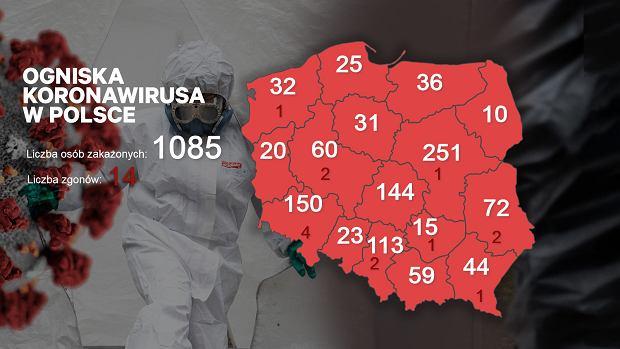 Liczba zakażonych w Polsce - czwartek 26 marca.