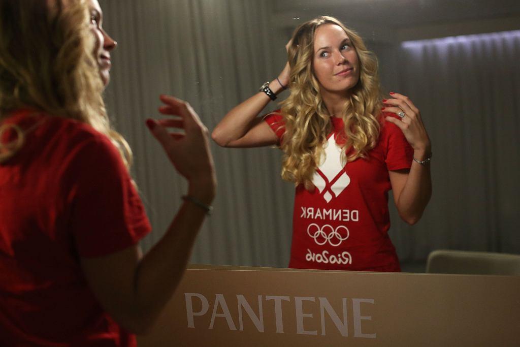 Caroline Wozniacki w salonie P&G, podczas przygotowań do ceremonii otwarcia Igrzysk Olimpijskich w Rio.