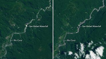 Wodospad w Ekwadorze w sierpniu 2014 i marcu 2020
