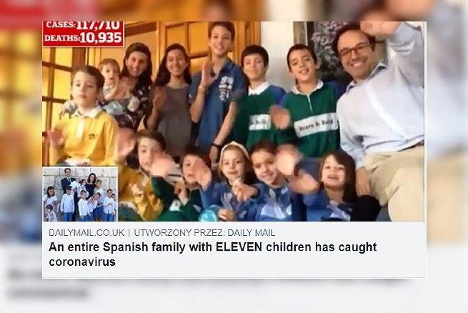Rodzina z 11 dzieci ma koronawirusa