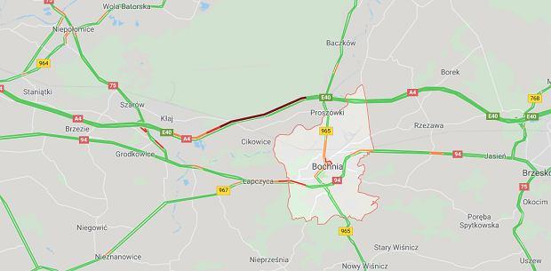 Wypadek na autostradzie A4 w stronę Krakowa