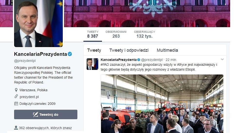 Profil Kancelarii Prezydenta na Twitterze - godz. 22:19