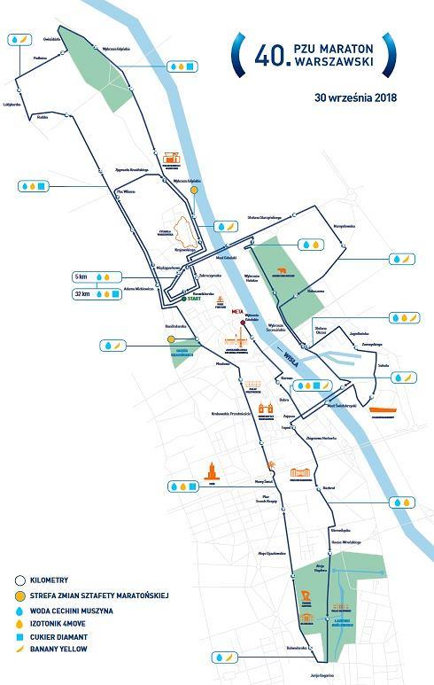 Jubileusz Maratonu Warszawskiego - mapa