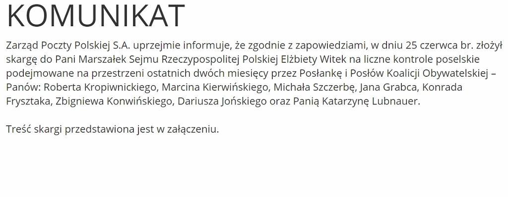 Komunikat Poczty Polskiej