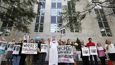 Demonstracja przed ambasadą Arabii Saudyjskiej w Waszyngtonie, 10 października 2018 r.