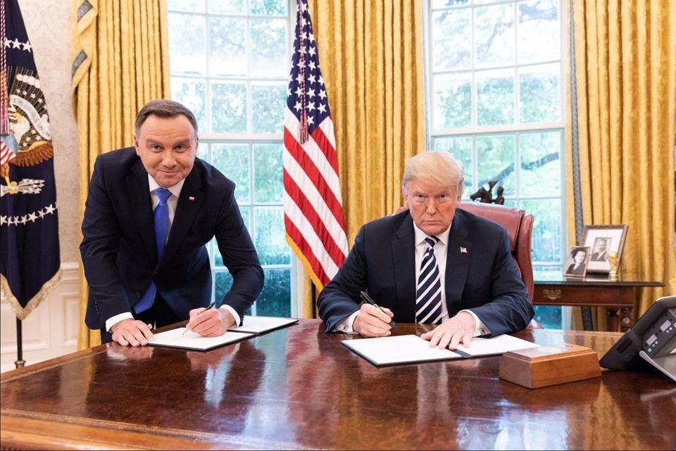 18.09.2018 Waszyngton. Prezydenci Andrzeja Duda i Donald Trump podczas podpisywania umów o współpracy pomiędzy RP i USA