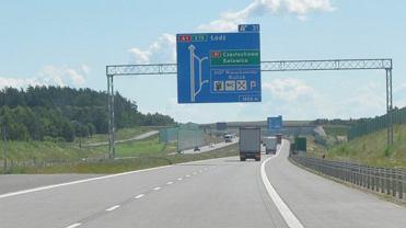 Zjazd z autostrady A1 w kierunku Częstochowy na DK91