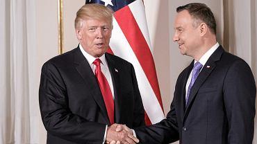 Donald Trump i Andrzej Duda podczas spotkania na Zamku Królewskim w Warszawie, 06.07.2017