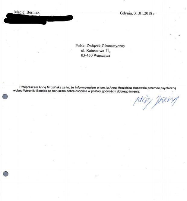 Przeprosiny od Macieja Berniaka, ojca Weroniki - pismo przysłane przez trener Annę Mrozińską