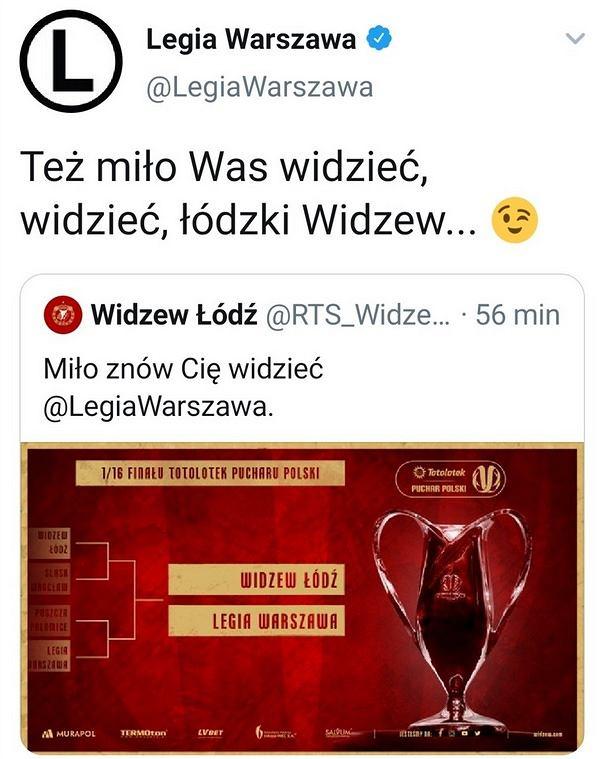 Wpis Legii Warszawa na Twitterze, który został usunięty