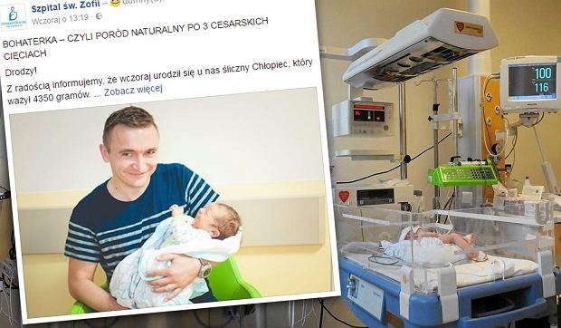 Prawdopodobnie pierwszy taki poród w Polsce: po trzech cesarkach urodziła naturalnie syna