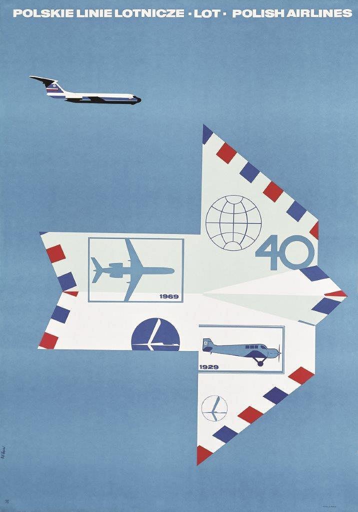 Plakat promocyjny LOT-u; Maciej Hibner; 1968 r.