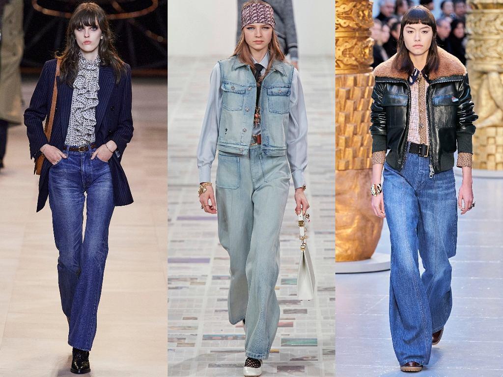 jeansy z wysokim stanem i rozszerzaną nogawką Celine/ Dior/ Chloe