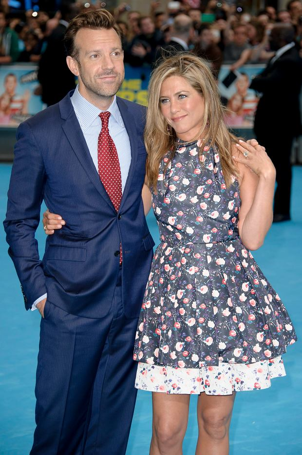 U.S actors Jason Sudeikis and Jennifer Aniston arrive for the European Premiere of 'We?re The Millers' at a central London cinema, Wednesday, August 14, 2013. (Photo by Jonathan Short/Invision/AP)