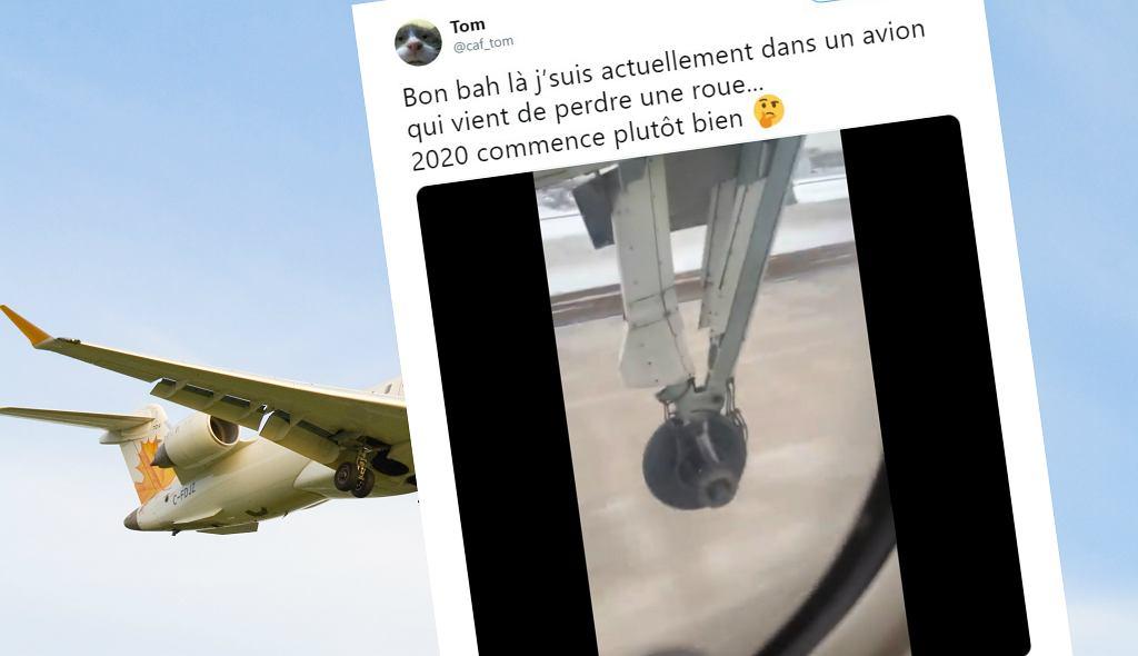 Pasażer nagrał moment, gdy z samolotu odpadło koło