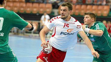 Michał Jurecki w świątecznym turnieju w Katowicach w 2014 roku. Mecz Polska - Węgry