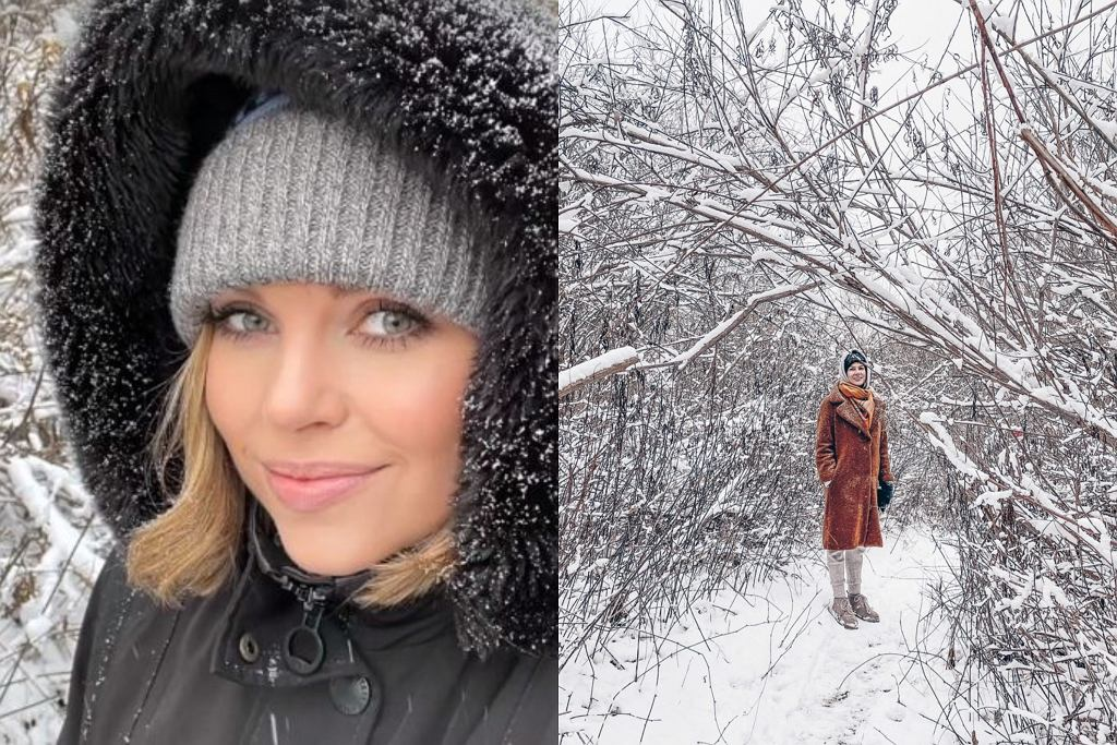 Aleksandra Kwaśniewska na spacerze z przyjaciółką