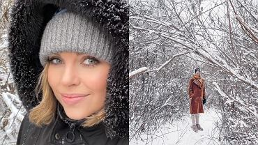 """Aleksandra Kwaśniewska wybrała się z przyjaciółką na zimowy spacer. To popularna aktorka. Grała w """"Na Wspólnej"""""""