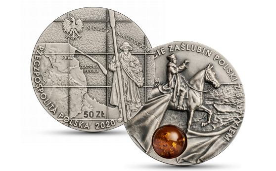 Moneta kolekcjonerska upamiętniająca 100-lecie zaślubin Polski z Bałtykiem