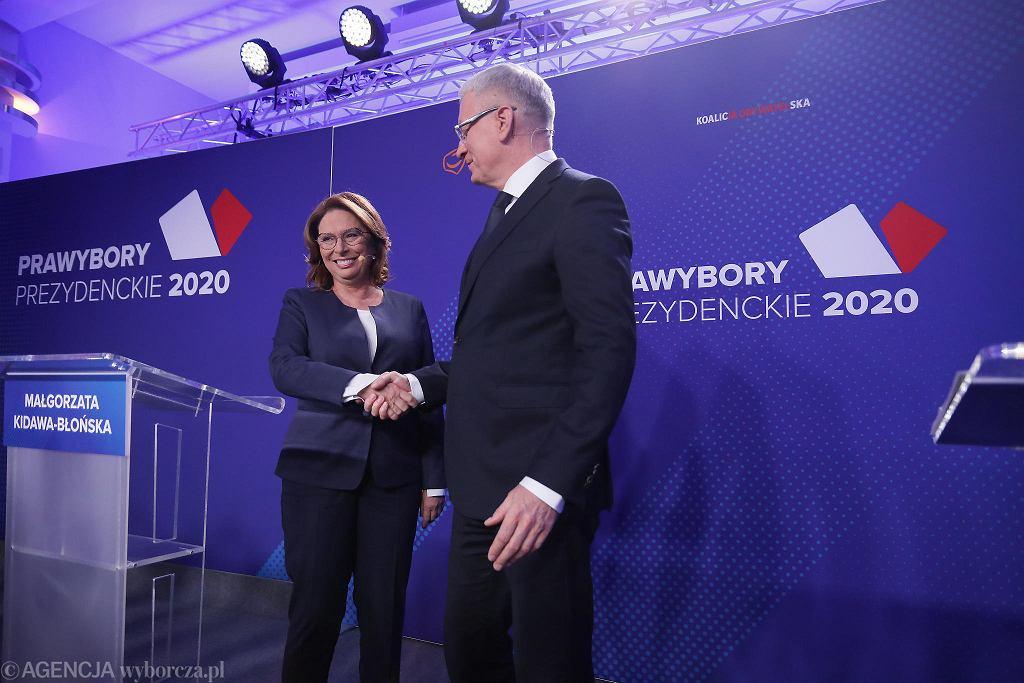Małgorzata Kidawa-Błońska i Jacek Jaśkowiak w czasie prawyborów w PO.