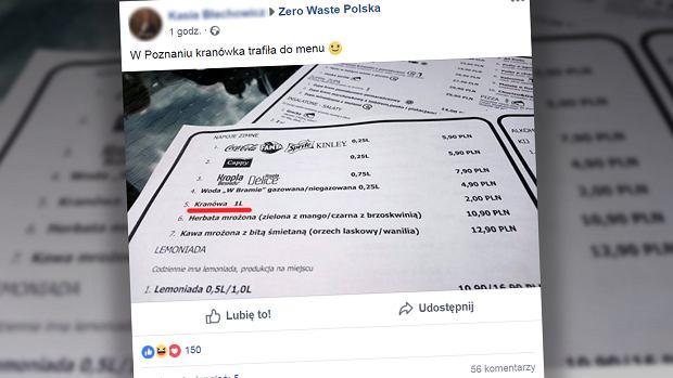 Kranówka w jednej z poznańskich restauracji kosztuje 2 zł za litr. Na facebookowej grupie 'Zero Waste Polska' ukazał się post, który jednych uczestników rozbawił, a innych oburzył