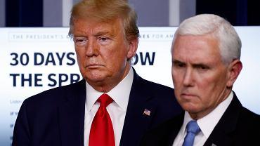Koronawirus w USA - Donald Trump i Mike Pence podczas konferencji prasowej w Białym Domu, 31 marca.